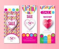 Bandeiras modernas da venda romântica do feriado ajustadas ilustração stock