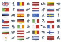 Bandeiras modernas do estilo da União Europeia com mapas Imagem de Stock Royalty Free