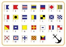 Bandeiras náuticas do sinal Fotos de Stock