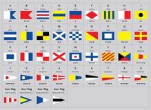 Bandeiras náuticas do sinal marítimo internacional, alfabeto de morse ilustração do vetor