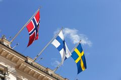 Bandeiras nórdicas imagens de stock