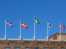 Bandeiras nórdicas imagem de stock royalty free