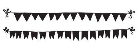 Bandeiras na corda Desenho do vetor Imagem de Stock