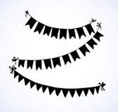 Bandeiras na corda Desenho do vetor Imagem de Stock Royalty Free