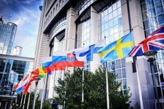 Bandeiras na frente da construção do Parlamento Europeu Bruxelas, Belgiu Foto de Stock Royalty Free