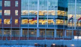 Bandeiras na frente do prédio de escritórios Fotos de Stock