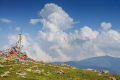Bandeiras na montagem Wutai imagem de stock royalty free