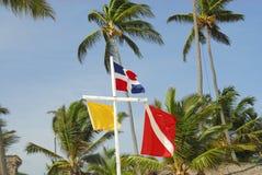 Bandeiras na praia Fotos de Stock Royalty Free