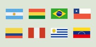 Bandeiras nacionais de Ámérica do Sul Imagem de Stock Royalty Free