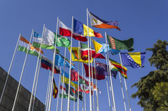 Bandeiras nacionais do mundo imagens de stock