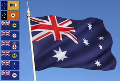 Bandeiras nacionais e provinciais de Austrália - Imagem de Stock Royalty Free