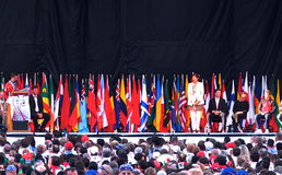 Bandeiras nacionais em cerimônias de inauguração do Triathlon Fotos de Stock