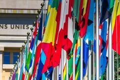 Bandeiras nacionais na entrada no escritório do UN em Genebra, Switzerla imagem de stock