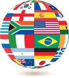 Bandeiras nacionais na forma quadrada em um globo Foto de Stock