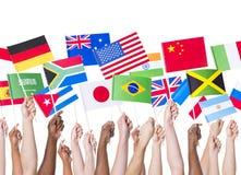 Bandeiras no centro do conference&convention de shenzhen Imagens de Stock