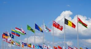 Bandeiras no centro do conference&convention de shenzhen Imagens de Stock Royalty Free