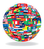 bandeiras no formulário do globo Imagem de Stock