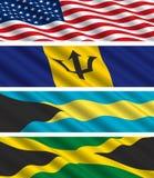 Bandeiras norte-americanas no vento Fotografia de Stock