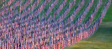 Bandeiras nos campos da cura para 9/11 Foto de Stock Royalty Free