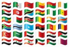 Bandeiras onduladas ajustadas - África & Médio Oriente Fotografia de Stock Royalty Free