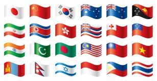 Bandeiras onduladas ajustadas - Ásia & Oceania Imagens de Stock Royalty Free