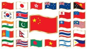 Bandeiras onduladas com frame do ouro - Ásia e Oceania Imagens de Stock