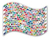 Bandeiras onduladas do mundo ilustração royalty free