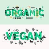 Bandeiras orgânicas e do vegetariano do alimento Fotografia de Stock Royalty Free