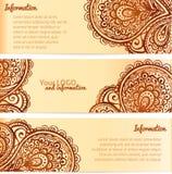 Bandeiras ornamentado do vetor do vintage do ornamento da hena Fotografia de Stock Royalty Free