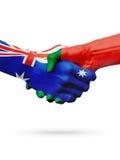 Bandeiras países de Austrália, Portugal, amizade da parceria, equipe de esportes nacional Imagens de Stock