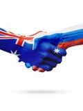Bandeiras países de Austrália, Rússia, amizade da parceria, equipe de esportes nacional Imagem de Stock Royalty Free