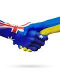 Bandeiras países de Austrália, Ucrânia, amizade da parceria, equipe de esportes nacional Imagens de Stock Royalty Free