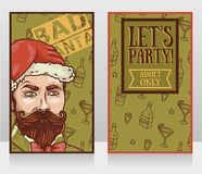 bandeiras para o partido mau de Santa com homem atrativo ilustração royalty free
