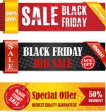 Bandeiras pretas da venda de sexta-feira Imagem de Stock