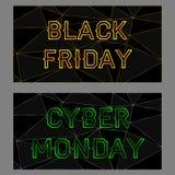 Bandeiras pretas de sexta-feira e de segunda-feira do cyber Fotografia de Stock