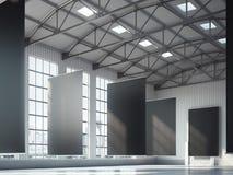 Bandeiras pretas vazias na área do hangar rendição 3d Foto de Stock Royalty Free