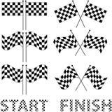 Bandeiras quadriculado ajustadas para o projeto da competência e do autosport, tal logotipo Foto de Stock Royalty Free