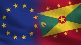 Bandeiras realísticas da UE e do Granada meias junto foto de stock royalty free
