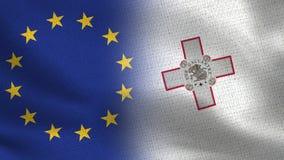 Bandeiras realísticas da UE e do Malta meias junto imagem de stock royalty free