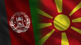Bandeiras realísticas de Afeganistão e de Macedônia meias junto ilustração stock