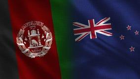 Bandeiras realísticas de Afeganistão e de Nova Zelândia meias junto imagens de stock