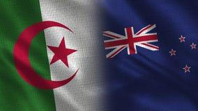 Bandeiras realísticas de Argélia e de Nova Zelândia meias junto ilustração do vetor