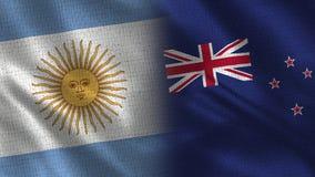 Bandeiras realísticas de Argentina e de Nova Zelândia meias junto ilustração do vetor