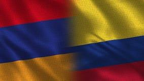 Bandeiras realísticas de Armênia e de Colômbia meias junto ilustração do vetor