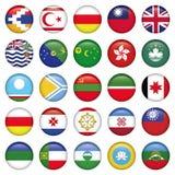 Bandeiras redondas asiáticas Fotos de Stock