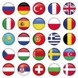 Bandeiras redondas dos ícones europeus Imagens de Stock