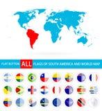 Bandeiras redondas lisas do conjunto completo e do mapa do mundo de Ámérica do Sul ilustração royalty free