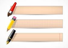 Bandeiras retros com pena e lápis Ilustração do Vetor
