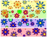 Bandeiras retros da flor ilustração stock