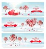 Bandeiras retros do feriado Árvores do Valentim com folhas coração-dadas forma Imagem de Stock